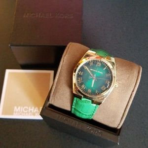 Michael Kors Emerald Leather Watch